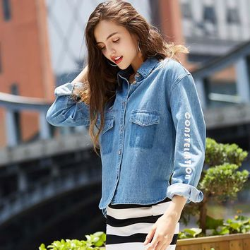Denim Shirt Alphabet Print Cotton Jacket [206225604634]