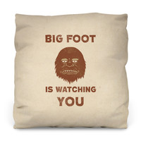 Big Foot Is Watching Outdoor Throw Pillow