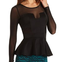 LONG SLEEVE MESH PEPLUM TOP