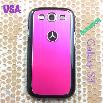 Mercedes Samsung Galaxy S3 Case Mercedes 3D Metal Car Logo with Aluminum Cover for S3 / i9300 -  F1 Pink