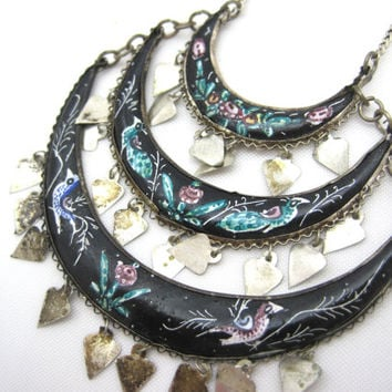 Vintage Necklace - Boho Hand Painted Enamel - Persian Folk Art