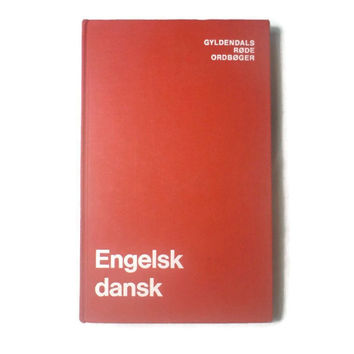 English to Danish Dictionary Reference Book, Vintage 1988, Hardcover, Gyldendal, Red