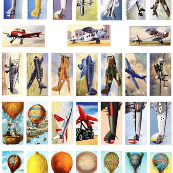 "vintage airplanes jets hot air balloons domino collage sheet 1""x2"" inch clip art graphics images digital download DIY craft printables"