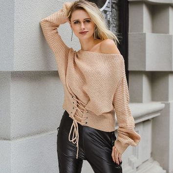 CONMOTO Autumn/Winter Lace Up Knitted Pullover Sweater