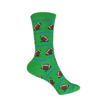 Football Crew Socks in Green