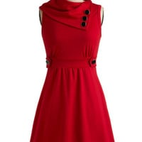 ModCloth Nautical Mid-length Sleeveless A-line Coach Tour Dress in Rouge