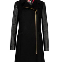 Leather sleeve coat - Black | Jackets & Coats | Ted Baker ROW