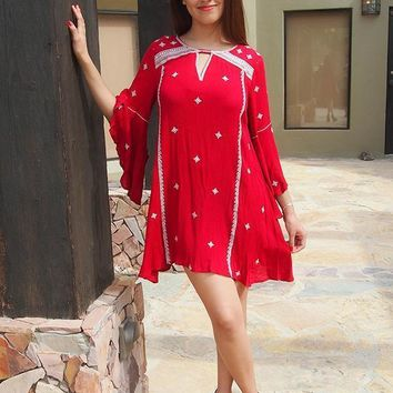 Tale To Tell Embroidered Burgundy Red Print Long Sleeve Shift Dress