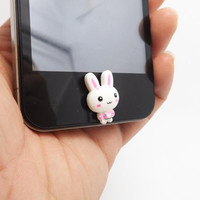 25%OFF 1Pc Cute Little White Rabbit Home Button Sticker for iPhone 3,4/4s,5,ipad 2,3,4,iPod Touch 2,3,4,5