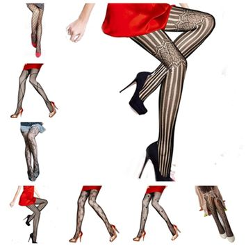 Classic Style Sexy Black Fishnet Pattern Jacquard Leg Warmers Stockings Pantyhose Tights for Women