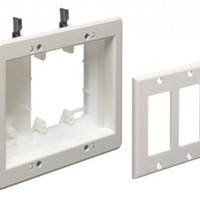 Arlington TVBU507-1 TV Box Recessed Outlet Wall Plate Kit, 3-Gang, White, 1-Pack