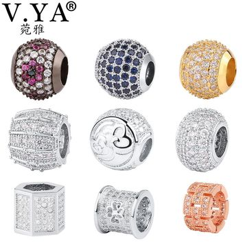 V YA Crystal Beads fit for Pandora Necklaces Bracelets Bead for Jewelry Making Women Men DIY Charms Luxury Jewelry