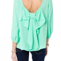 The Bow-ing Out Top in Mint