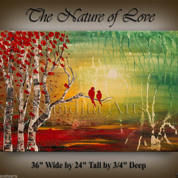 ORIGINAL LANDSCAPE PAINTINGS Sunset Large Art Autumn Birch Tree Painting Wall Art Artwork Red Tree Texture Art by Nandita