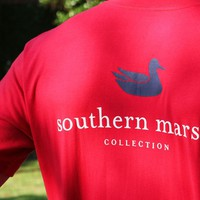Collegiate Authentic Tee in Red with Navy Duck by Southern Marsh