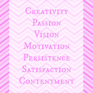 Creativity, Motivation, Persistence, Satisfaction, Contentment Chevron Typography Photo, Poster Print Wall Decor Pink White Grey Yellow Blue