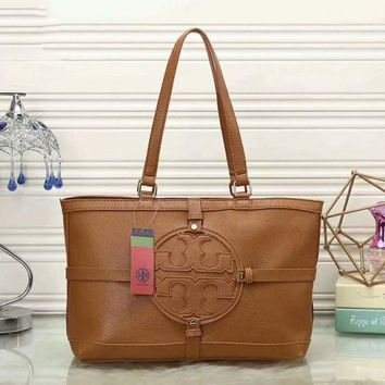 Tory Burch Women Shopping Leather Handbag Tote Satchel Shoulder Bag F-LLBPFSH  Brown