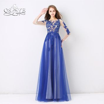 QSYYE 2018 New Arrival Royal Blue Long Prom Dresses Elegant Sheer O-Neck Long Sleeve Lace Beaded Floor Length Evening Dresses