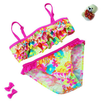2016 New summer European and American Style Flowers Bikini Children's Swimwear Girls Split Bikini Kids Cake Layer Swimsuit