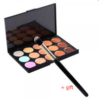 New 15-Color Face Cream Concealer Palette & Small Size Angled Makeup Brush Set Gift + Free Shipping