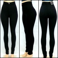 High Waist/Rise Black Color Skinny Classic Denim Jean Pants