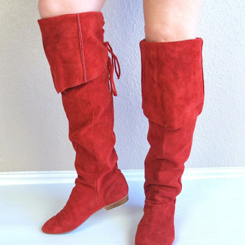 vtg 80s CORSET red suede leather OTK BOOTS cuff flat 7/7.5 over the knee high tall shoes boho