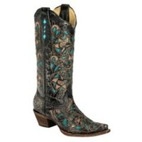 Sheplers: Corral Turquoise Laser Inlay Cowgirl Boots - Toe