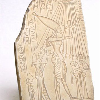 Akenaten and Nefertiti Pharaoh and Queen Worshiping to Aten Egyptian Wall Relief 11H