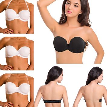 Ladies Secret Sexy Bra Strapless Invisible blade tape newest push up breasted backless bra for women glossy adjustable underwear