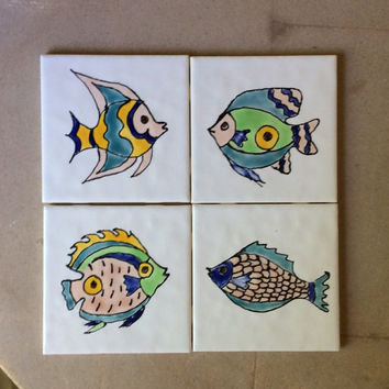 Hand painted fish tile, fish ceramic tile, original painted tile, bathroom decor, beach house decor.