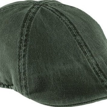 Henschel Distressed Duckbill Ivy Scally Cap Olive Washed Cotton 6/4 Hat 6302