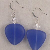 SEAE12 Earring made of Cornflower Sea Glass and Clear Swarovski Crystal