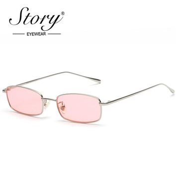 STORY Retro Small Rectangle Sunglasses Unisex UV400 Female 2018 Brand Skinny Metal Frame Pink Red Clear Lens 90s Sunglasses