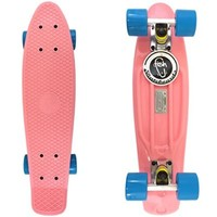 "22"" Pastel Pink Fish Skateboard Penny Shipping Vinyl Retro Trucks Blue Wheels"