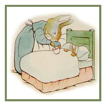 Mother Rabbit Puts Peter to Bed inspired by Beatrix Potter Counted Cross Stitch or Counted Needlepoint Pattern