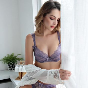 Ladies Bra Set Transparent Sexy Permeable Underwear [296077819945]