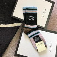 Gucci Big G Gold Stripe Socks Multicolor
