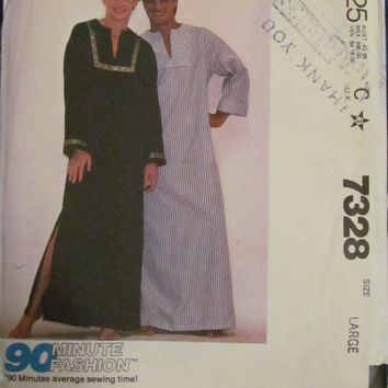 Uncut 1980's McCall's Sewing Pattern, 7328! Size Large, Unisex/Men's/Women's/Misses, Caftan Robes, Hippie Casual, House Dress, Sleepwear