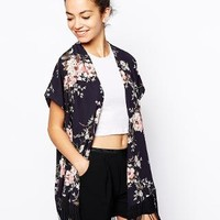 New Look | New Look Botanical Floral Print Kimono With Fringing at ASOS