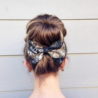 Camouflage Large Bow, Camo French Barrette, Big Sock Bun Bow, Fabric Hair Bow