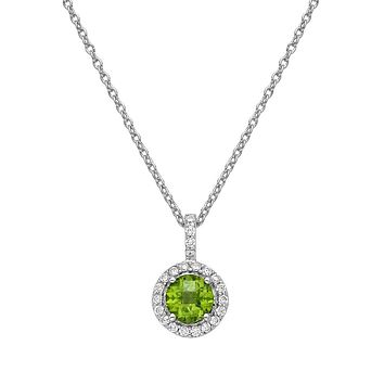 Lafonn Aria Sterling Silver Platinum Plated Lassire Peridot Necklace with Lassaire Simulated Diamonds