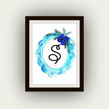 Custom printable, monogram letter, Alphabet lettersr, Nursery print,  wall decal art, decor, decors, Kids baby, initial, wedding numbers