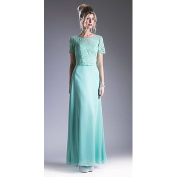 Mint Green Lace Bodice Short Sleeves A-line Long Bridesmaids Dress