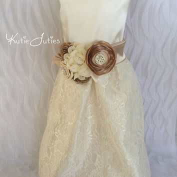 Lace and Satin Dress- Custom Dress, Beige, Cream, Tan, Ivory, Flower Girl, Wedding, Pageant, Birthday, Girl, Infant, Toddler, Child