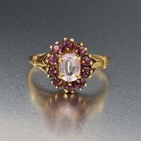 Fine Amethyst and Pink Tourmaline Halo Ring