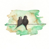 Love Birds on a Wire 5x7 Print