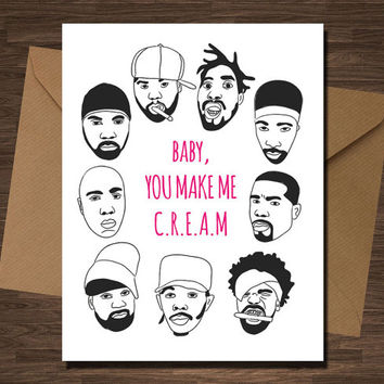 Wutang Clan Funny Valentine Card Anniversary Baby, You Make me Cream Rap Rapper Hip Hop