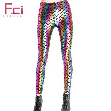 c2ef159f58912 2018 Women Sexy Mermaid Rainbow Scale Shiny Leggings Workout Pus