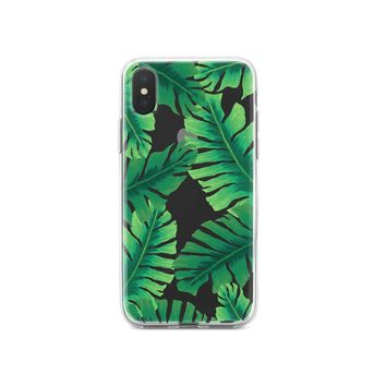 DistinctInk® Clear Shockproof Hybrid Case for Apple iPhone / Samsung Galaxy / Google Pixel - Tropical Banana Leaves