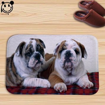 Autumn Fall welcome door mat doormat PEIYUAN  Indoor Print Color Animal Cute Pug Dog and Cat Color  Flannel Floor Mat Rugs Tapis 60*40cm AT_76_7